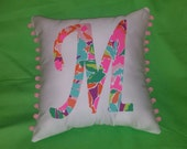 New Initial pillow Made with AUTHENTIC LILLY PULITZER Lulu Fabric