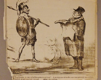 Antique  DAUMIER Lithograph ORIGINAL CIRCA 1854 Actualites  French 11 x 10