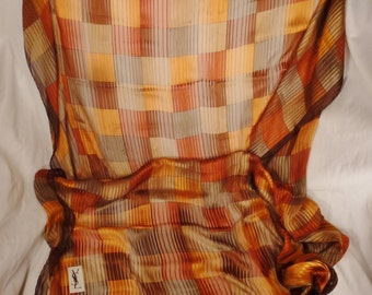 Designer YVES Saint Lsurent  SCARF Silk chiffon 1960's app 54 x 55 inches stunning  brilliant colors great condition