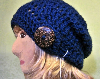 Slouchy Beanie Hat with Coconut Button Tab,Navy Blue Hat,Crocheted Hat, Navy Blue