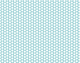 Riley Blake Honeycomb Dot Aqua and White by the yard ~ 100% woven cotton
