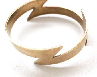 Thick brass infinity lightning bolt bangle