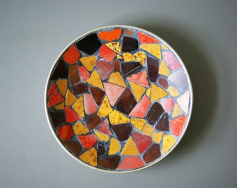 Mid Century Modern Mosaic Art Dish Decorative Tray Fired Tiles in Brilliant Fall Colors 1960's Folk Art