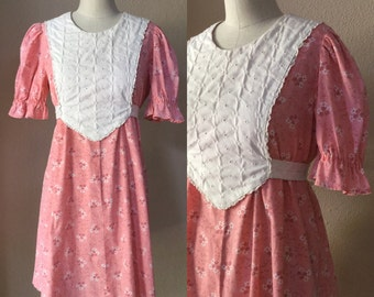 Vintage schoolgirl dress, Prairie Dress. Calico Cotton Dress, 60's Bumpkin