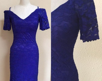 Electric Blue Sexy Prom Dress.80's New Wave Lace Dress. Vintage Formal Dress