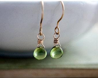 ON SALE Peridot Earrings, Drop Earrings, Gold Earrings, August Birthstone, Lime Green, Peridot Jewelry, Birthstone Earrings, Dangle Earrings
