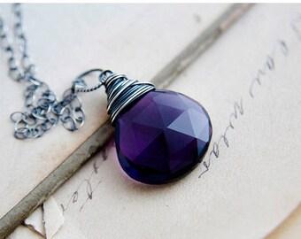 ON SALE Gemstone Necklace, Pendant Necklace, Hydroquartz, Purple Gemstone, Crystal Necklace, Crystal Jewelry, Sterling Silver, PoleStar, Feb