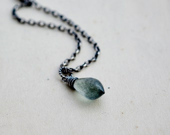 Gemstone Necklace, Aquamarine Necklace, Aquamarine Pendant, March Birthstone, Birthstone Necklace, Moss Green, Sterling Silver