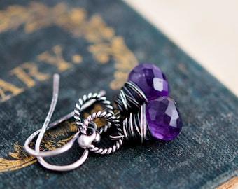 Gemstone Earrings, Amethyst Earrings, Drop Earrings, February Birthstone, Dangle Earrings, Birthstone Jewelry, Purple
