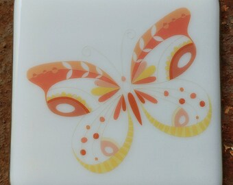 Coaster - Fused glass - Butterfly - coral and yellow