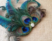 Peacock Feather Hair Clip, Made to Order