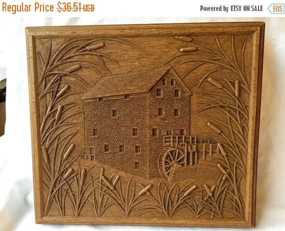 Spring sale wood relief carving by artist kim of