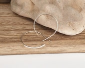 Sterling Silver Open Hoops - Small (E407SS-S) Hammered, Threader Earrings - wire jewelry by cristysjewelry on etsy