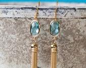 Aquamarine, gold tassel connector earrings, simple, gifts for her, elegant, dangle, glass earings, tassel earrings, handmade