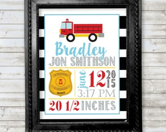 Lil Firefighter baby birth announcement wall art print, great for a nursery