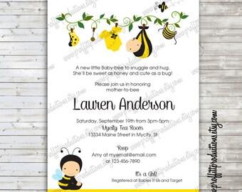 Sweet Baby Bee custom baby shower invitation - digital file