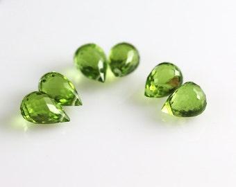Peridot Briolette Beads - 6 Drops - Peridot Beads - 3 Pairs