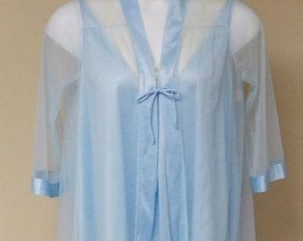 Vintage Sears sheer blue short jacket top & short sleep top nylon nightie