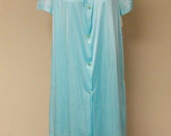 Vintage NWT Lorraine 2 piece aqua sleeveless nightgown button front robe nylon