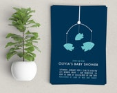 Fish Mobile Baby Shower Invitation | Girl, Boy or Gender Neutral | Digital File or Printed Invitations | Ocean or Beach Theme