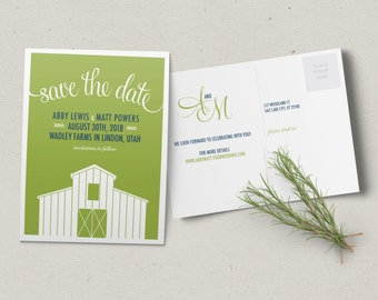 Barn Save the Date Postcard