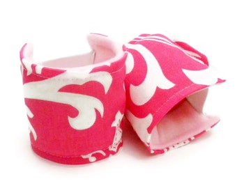 Heat Pack Wrist Support to Wear, Typing on Keyboard, Mouse, Ergonomic Wrist Rests that Wrap Around, Microwave Heat Cold Pads, pink
