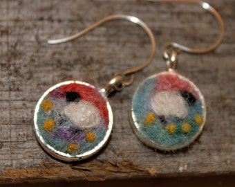 Felted Sheep  Earrings, Sheepscapes Dangle Earrings, Needle Felted Sheep Earring, Silver Sheep Earrings # 1693