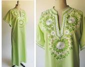 Embroidery Caftan /Vintage 1960s Caftan Lime Green  / Boho Festival  / Resort Tunic Caftan Beach Pool Cover up / Medium size