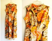 Mod 60s Onesie / Vintage 1960s Jumpsuit, Gorgeous Floral in Bright Colors / Mad Men, Bond Girl, Go Go, Festival /  XS