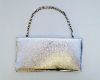 SALE..Vintage Silver Evening Clutch Handbag Vintage 1960s Cocktail Purse /  Evening Handbag  / 60s Small Bag / Retro Style Mad Men Hand Bag