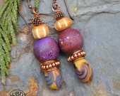 Lampwork Headpins and Beads, Carved Bone Beads, Twisted Copper Bead Earrings