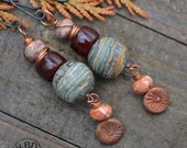 Polymer Clay, Agate, Poppy Jasper and Copper Headpin Earrings