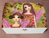 Girls Large Jewelry Box, Autumn Fairies Sisters Wooden Trinket Box, Handmade Wood Jewelry Box