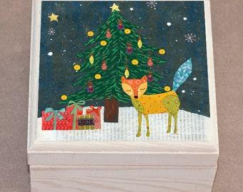 Christmas Fox Jewelry Box, Christmas Gift, Wooden Jewelry Box, Handmade Christmas Gift for Children, Kids Christmas Gift, Handmade Christmas