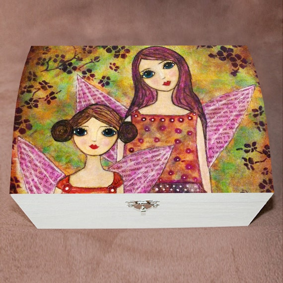 Girls large jewelry box autumn fairies sisters wooden by for Girls large jewelry box
