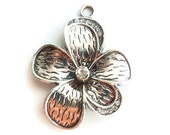 1 Large Rhinestone Flower Pendant,  Jewelry Making Supply, Antique Silver Color