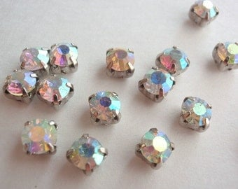 12 Glass Rhinestone Montee Beads, Jewelry Making Supply, Grade A, AB Rhinestones, Platinum colored Cups