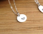 Sterling heart necklace round Handmade  Gift by Yummy & Company