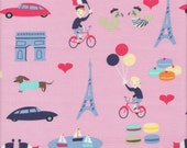 Dear Stella Designs French Lessons Paris in Pink - Half Yard