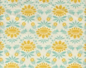 Moda Fabrics Baby Jane Colonial Floral in Aqua and Yellow - Half Yard
