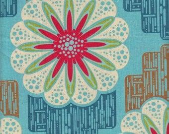 Free Spirit Fabrics Anna Maria Horner Field Study Linen Cotton Flower Circuit in Guava - Half Yard