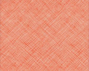 Robert Kaufman Carolyn Friedlander Architextures Crosshatch in Tangerine - Half Yard