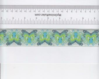 Renaissance Ribbons Tula Pink Octogarden Ribbon in Blue - Half Yard