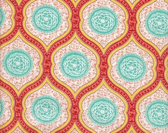 Moda Fabrics Birds & Berries Floral Medallions in Coral - Half Yard
