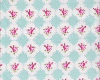 Free Spirit Fabrics Tanya Whelan Rosey Cameo Rose in Teal - Half Yard