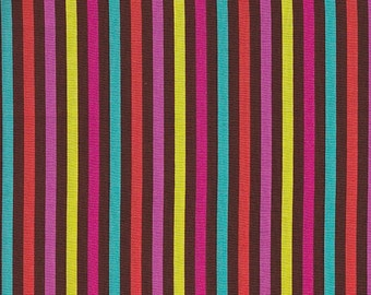 Michael Miller Patty Young Modkid Playdate Candy Stripe in Chocolate -  Half Yard