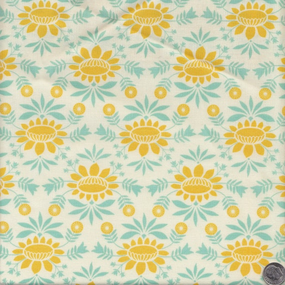 Moda fabrics baby jane colonial floral in aqua and yellow for Yellow baby fabric