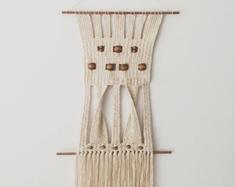cotton and wood | hand woven wall hanging tapestry weaving
