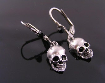 Skull Earrings, Wire Wrapped Earrings, Black and Silver, Gothic Earrings, Goth Jewelry, Hypoallergenic Earrings, Stainless Steel Jewelry