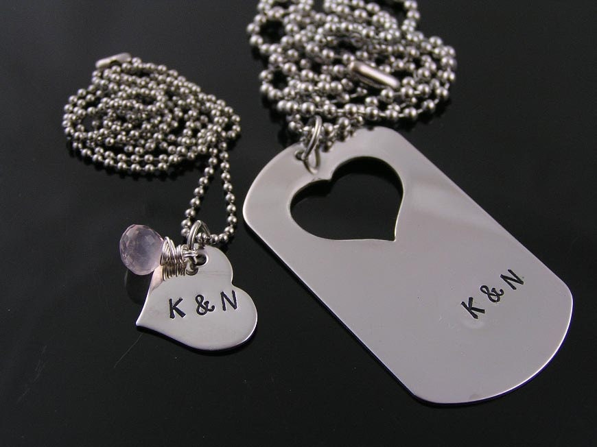 matching couple necklace dog tag and heart necklaces partner
